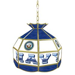 "16"" Navy Stained Glass Tiffany Lamp"