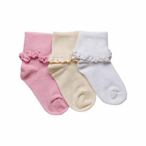 1 Pair Cotton Cluny Lace Turn Cuff Ankle Socks w/Hand-linked Seamless Toe