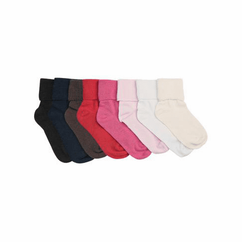 1 Pair Organic Cotton Seamless Toe Turn Cuff Anklet Socks