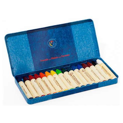 16 Stockmar Non-Toxic Beeswax Stick Crayons in a Tin
