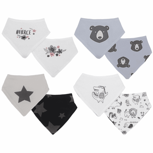 2 Pack Kushies Baby Bandana Droolbibs w/ Hook & Loop Closure