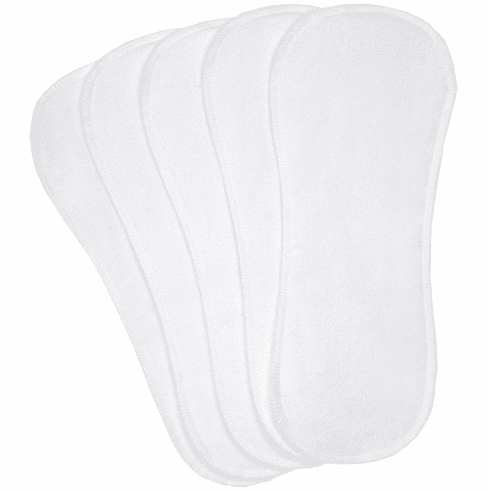 5 Pack Kushies White Washable Cotton Cloth Diaper Liners