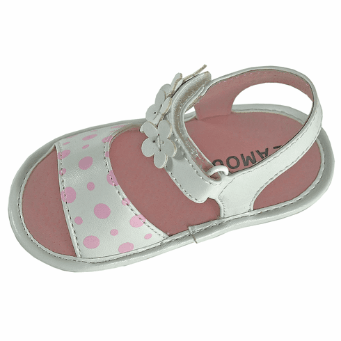 Angel Baby Girl Polka Dot & Flower Velcro Strap Leather Sandals
