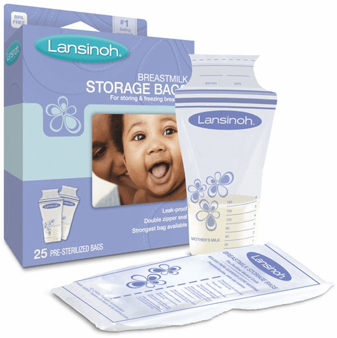 BPA Free Lansinoh Breastmilk Pre-Sterilized Storage Bags - 25, 50 or 100 Pack