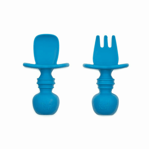 Bumkins Red Silicone Chewtensils, Baby Fork and Spoon Set