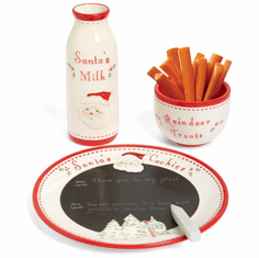 Child to Cherish Jolly Santa's Chalkboard Message Cookie Plate, Milk Jar & Reindeer Treat Bowl Set
