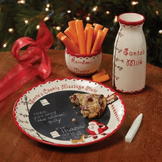Child to Cherish Santa's Chalkboard Message Cookie Plate, Milk Jar & Reindeer Treat Bowl Set