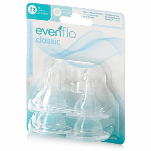Evenflo 4 Pack Stage 3 Fast Flow Silicone Nipples