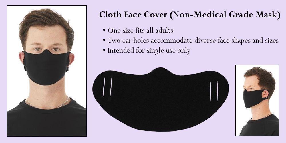 Black Daily Disposable T-Shirt Fabric Face Cover (Non-Medical Grade Cloth Mask)