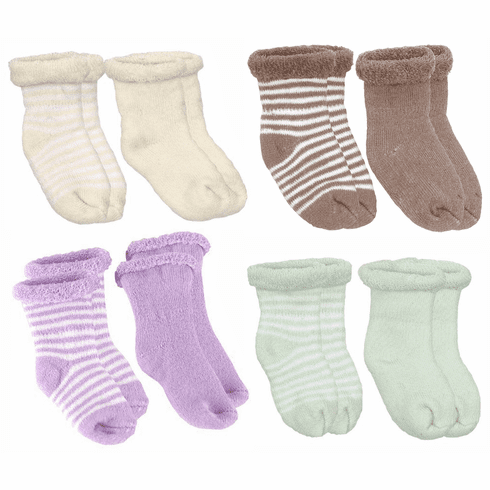 Kushies 2-Pack Terry Newborn Striped & Solid Cotton Socks