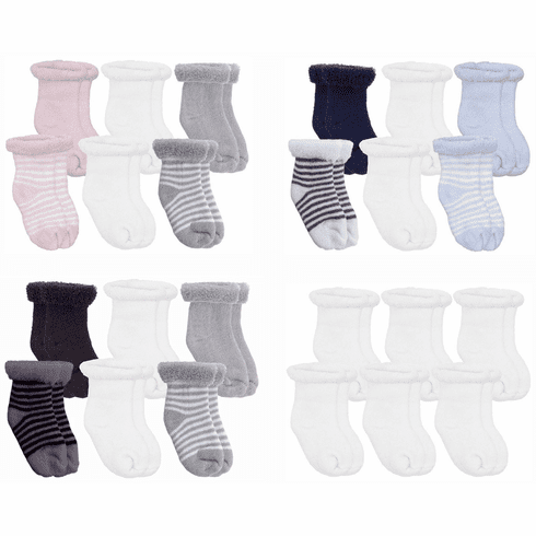 Kushies 6-Pack Terry Newborn Striped & Solid Cotton Socks