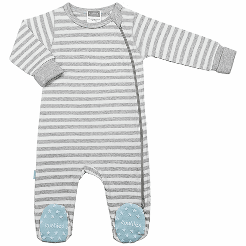 Kushies Baby Classic Grey Cotton Side Zipper Sleeper Blue Non-Slip Feet