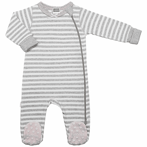 Kushies Baby Classic Grey Cotton Side Zipper Sleeper Pink Non-Slip Feet