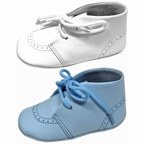 L'Amour Baby Soft Leather Booties w/Tie Up Closure - White or Blue