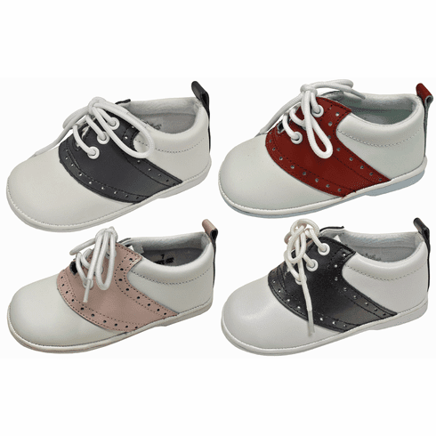 L'Amour Baby & Toddler Classic Oxford Leather Lace Up Shoes