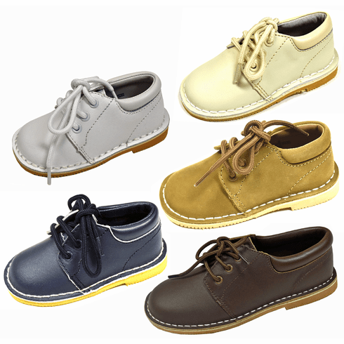 L'Amour Boy's Leather Lace-Up Casual Dress Shoes in Toddler & Child Sizes