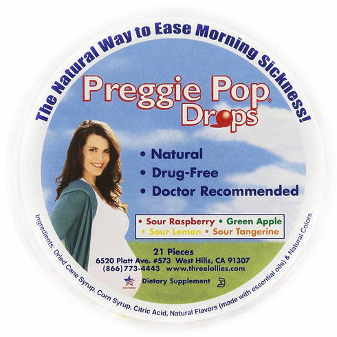 Preggie Pop Drops for Morning Sickness 21 Pieces Assorted Sour Flavors
