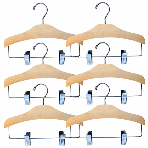 Set of 6 Baby, Toddler & Kid-Size Natural Wood Chrome Combo Hangers with Pant Clips