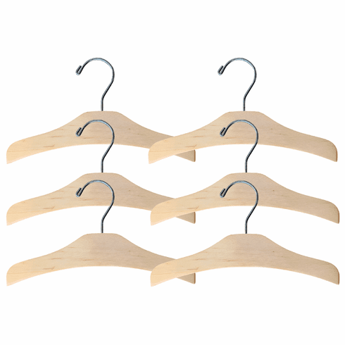 Set of 6 Baby, Toddler & Kid-Size Natural Wood Chrome Top Hangers