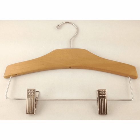 Single Baby, Toddler & Kid-Size Natural Wood Chrome Combo Hanger with Pant Clips