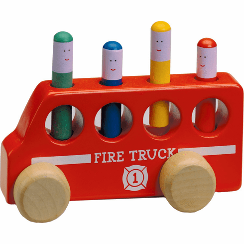 The Original Toy Company Solid Hardwood Pop-Up Fire Truck Toy w/Peg Firemen