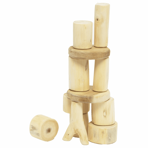 Wooden Tree Blocks Barkless 12 Piece Large Baby Real Wood Building Block Set