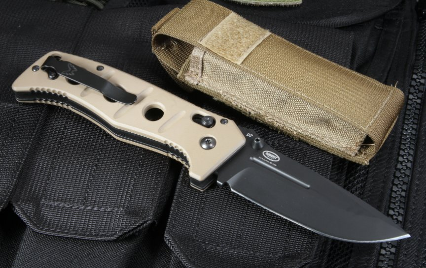 Benchmade Adamas 275 BKSN Black D2 Blade / Tan G-10 Handle