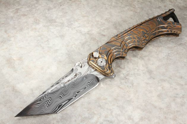 Brian Tighe - Tighe Fighter - Damasteel Blade, Bronze and Zirconium Damascus Handle