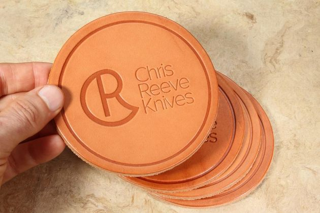 Chris Reeve Knives Leather Coaster Set of Four - by G'feller Casemakers