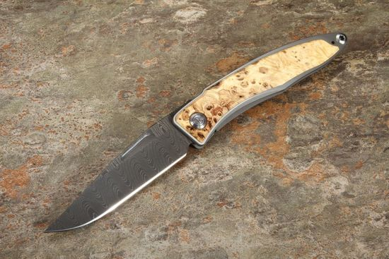 Chris Reeve Mnandi Box Elder and Ladder Damascus Folding Knife #2