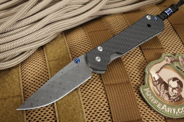 Chris Reeve Small Carbon Fiber and Raindrop Damascus Sebenza