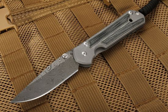 Chris Reeve Small Sebenza 21 Micarta Inlay Stainless Raindrop Damascus