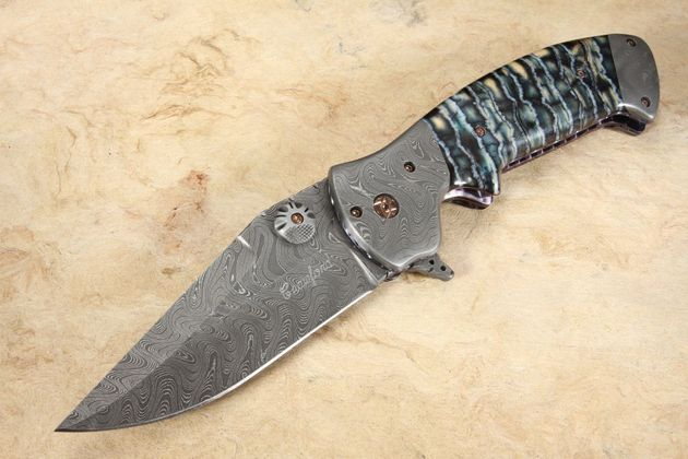 Crawford Custom Kasper - Mammoth Tooth and Damascus Flipper