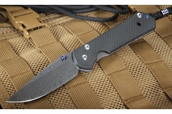 Exclusive Chris Reeve Large Carbon Fiber and Ladder Damascus Sebenza