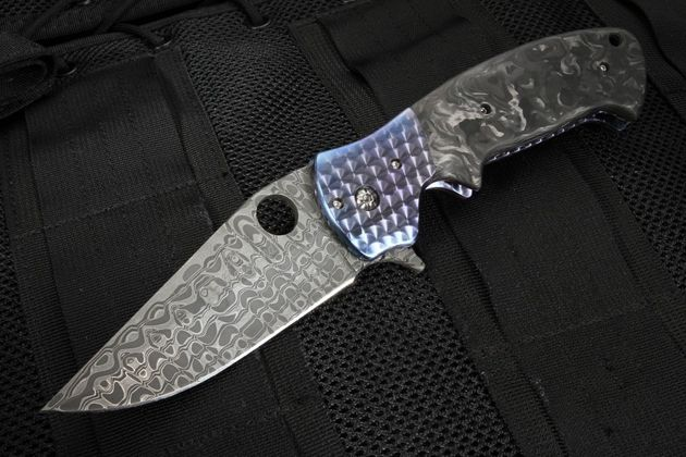Crawford Dress Kasper - Marble Carbon Fiber and Stainless Damascus