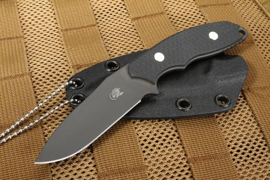 "Rick Hinderer Flashpoint 3"" Tactical Neck Knife - Black DLC and Black G-10"