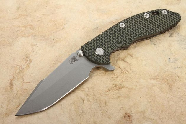"Hinderer Knives XM-18 3.5"" Harpoon Spanto Tri Way Pivot Flipper - Battle Bronze, OD and Black"