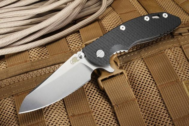 "Hinderer Knives XM-18 3.5"" Sheepsfoot Tri Way Pivot Flipper - Black"