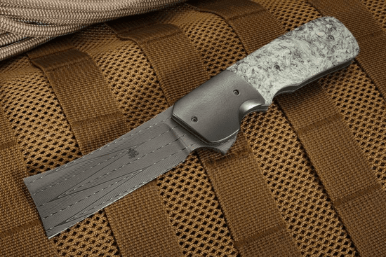 Jason Clark Custom Herringbone Damascus and Zirconium Flipper