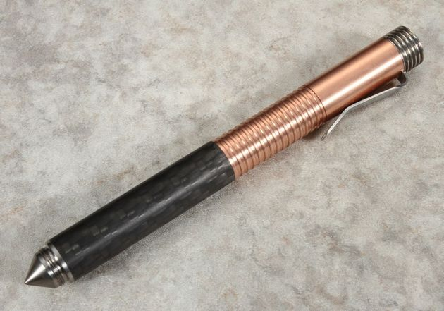 Matthew Martin Model 500 Twist Cap Pen in Carbon Fiber, Copper and Titanium