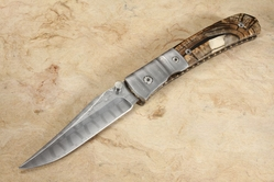 Mel Pardue Custom Bark Mammoth and Damascus Folding Knife