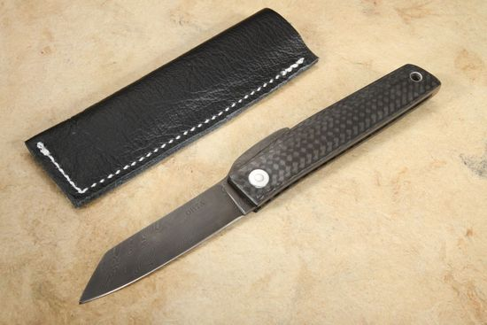 Hiroaki Ohta Carbon Fiber and Damascus FK7 Friction Folder