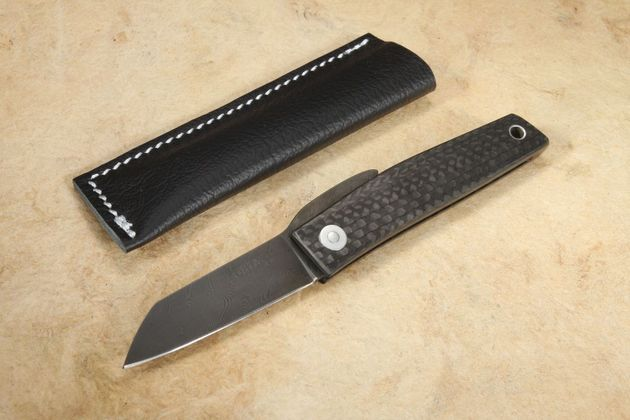 Hiroaki Ohta Custom Damascus and Carbon Fiber FK5 Friction Folder