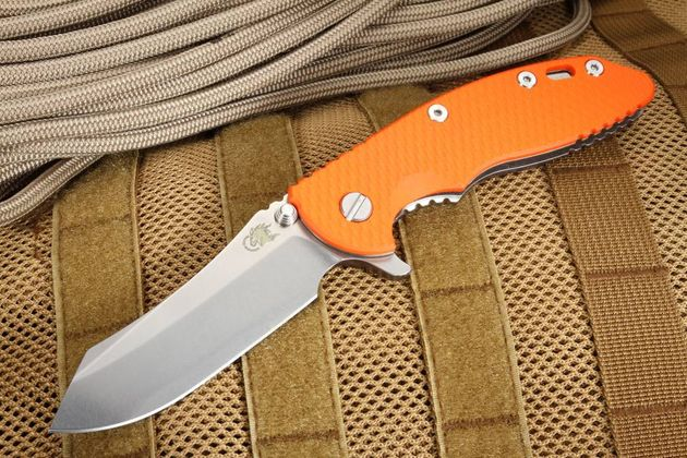 "Rick Hinderer Gen 6 XM-18 3 1/2""  Skinner - Orange - Tri-way Pivot"