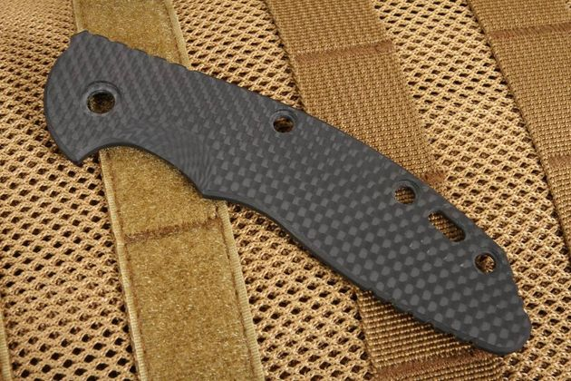 "Rick Hinderer XM-18 3 1/2"" Smooth Black Carbon Fiber Scale"
