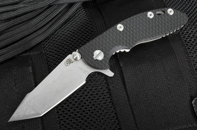 "Rick Hinderer XM-18 3"" Harpoon Black G-10 Flipper"