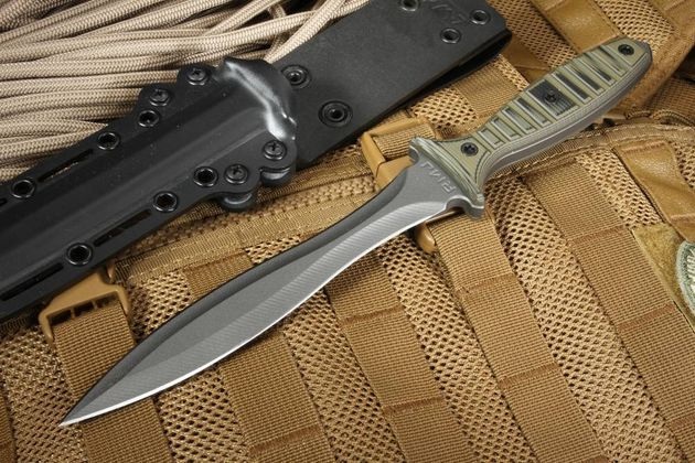 RMJ Jungle Dagger Dirty Olive G10 Tactical Fixed Blade