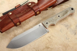 "White River Firecraft FC 5"" - OD Green and Orange Micarta - Leather Sheath"