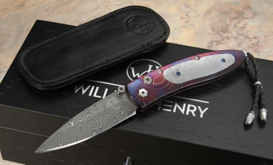 William Henry B05 Galactica - Meteorite & Damascus Folding Knife