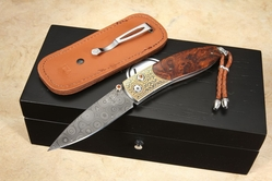 William Henry B05 Gold & Ironwood - Damascus Folding Knife